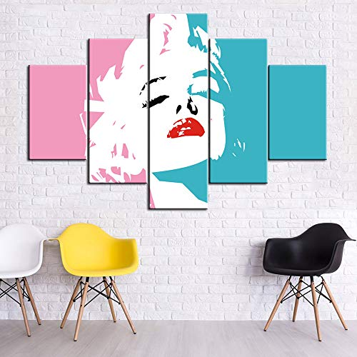 (5 Piece Canvas Wall Art Marilyn Monroe Portrait Pictures for Living Room American Superstars Paintings Sexy Blonde Girl Artwork Home Modern Decor Framed Ready to Hang Poster and Prints(60''Wx40''H) )