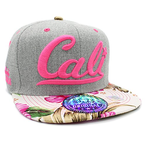 LAFSQ Embroidered Cali with California Map Snapback Cap (H.Grey/Pink/Flower)