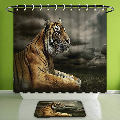 Waterproof Shower Curtain and Bath Rug Set Wildlife Nature Decor Collection Tiger Leopard Safari Jungle African Cat Black Gray Brown Bath Curtain and Doormat Suit for Bathroom 60