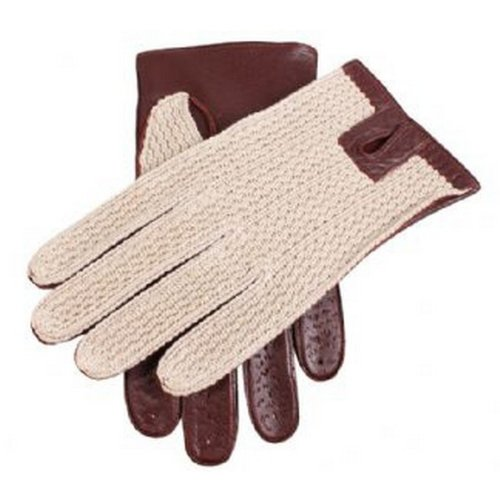 Dents Mens Cotton Crochet Back Driving Gloves - English Tan - Extra Large