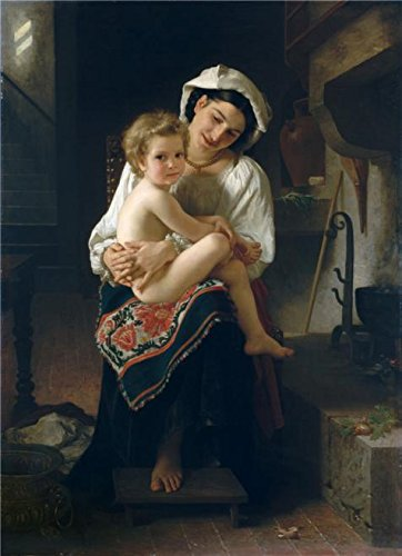 Oil Painting 'Adolphe William Bouguereau-Young Mother Gazing At Her Child,1871', 30 x 41 inch / 76 x 105 cm , on High Definition HD canvas prints is for Gifts And Garage, Gym And Study Room (Young Time Sectional)