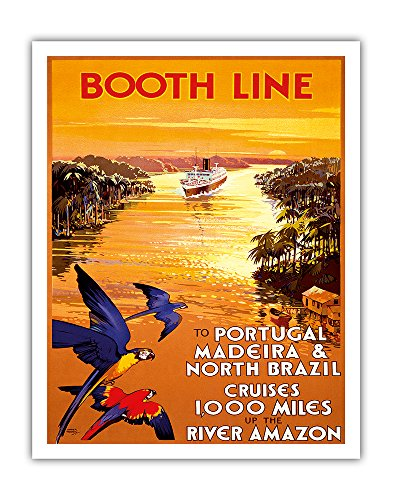 Pacifica Island Art Portugal, Madeira & North Brazil - Booth Line - Cruises 1,000 Miles Up the River Amazon - Vintage Ocean Liner Travel Poster by Walter Thomas c.1930s - Fine Art Print - 11in x 14in