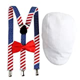 Stars & Stripes 4th of July Suspenders, Bow Tie & Ivy Hat for Men
