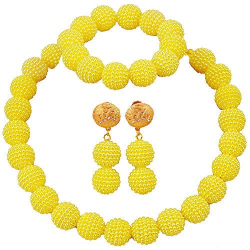 (aczuv Nigerian Wedding African Beads Jewelry Set Women Simulated Pearl Necklace and Earrings (Light Yellow))