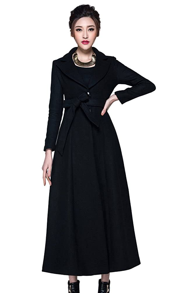 Chickle Women's Notch Collar Single Breasted Belt Maxi Wool Coat L Black -TL-LT421-1-L