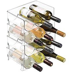 mDesign Stackable Wine Bottle Storage Rack for Kitchen Countertops, Cabinet - Holds 12 Bottles, Clear