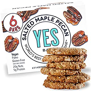 Yes bar – Salted Maple Pecan – (6Count) Plant Based Protein, Decadent Snack bar – Vegan, Paleo, Gluten Free, Low Sugar, Healthy Snack, Breakfast, On-The-Go, for Kids & Family