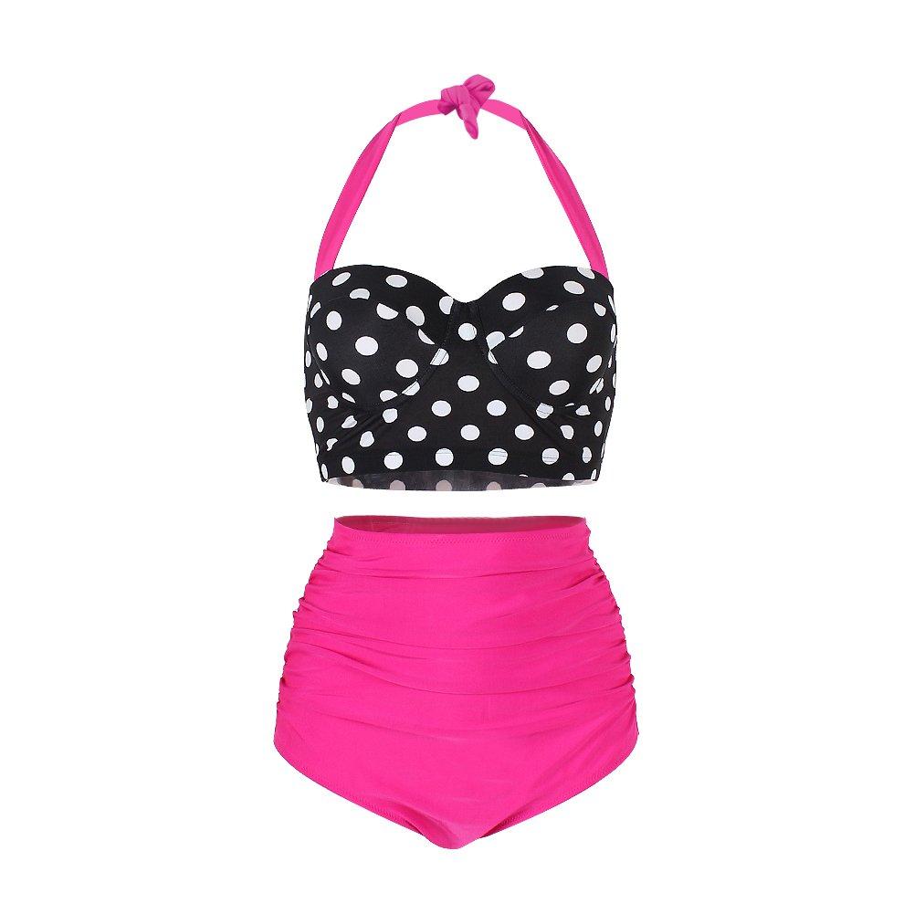 FeelinGirl Lunares Push Up Vintage Talle Alto Conjunto de Baño Bikini para Mujer product image