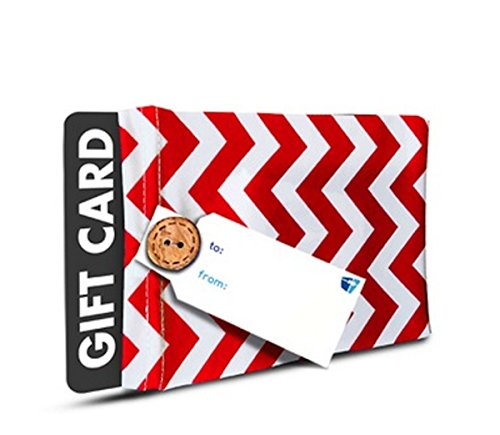 Birthday Gift Card Holder - (Set of 2) Stretchy Fabric, Reusable & Eco Friendly - Red and White Chevron (2 Gift Card Holders with 2 FREE Gift Tags)