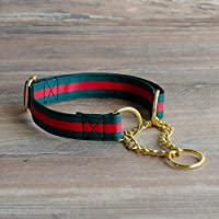 Luxury Designer Martingale Collar for Dogs, Adjustable, No Pull Training Dog Collar and Leash Set - Green, Red Stripe with Gold Chain for Small, Medium, Large Breeds
