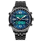 Mens Watch Digital Sport Watches Dress Stainless Steel Analog Quartz Wrist Watches Waterproof Black