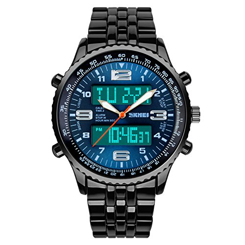 Men's Watch Digital Sports Watch Dress Stainless Steel Large Dial Analog Quartz Watch Waterproof Black