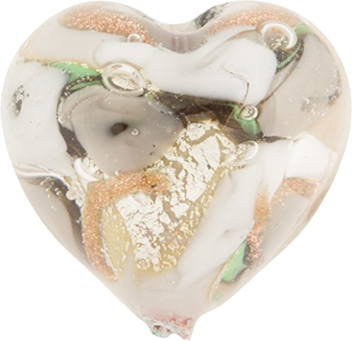 Gray and Cream with Aventurina Gold Foil Bed of Roses 16mm Heart Murano Glass Bead Handmade Lampwork