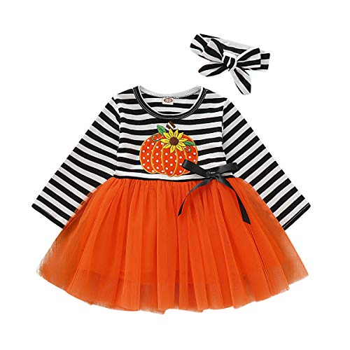 Orange Tutu With Headband - Toddler Girls Halloween Outfits Pumpkin Long