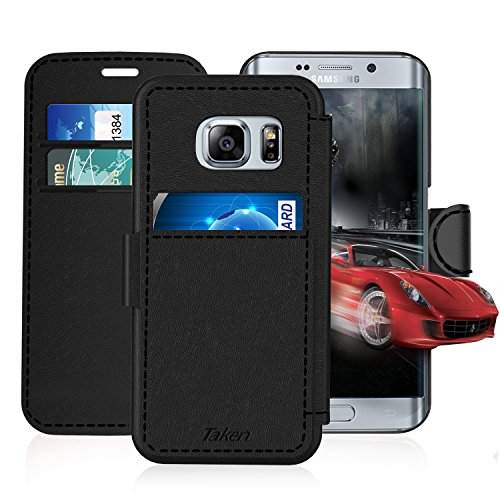 Samsung Galaxy S 6 Edge/S6 Edge Leather Wallet Case with Cards Slot and Metal Magnetic, Slim Fit and Heavy Duty, TAKEN Plastic Flip Case / Cover with Rubber Edge, for Women, Men, Boys, Girls (Black)