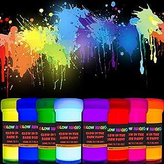Glow in The Dark Acrylic Paint Set - Self-Luminous Phosphorescent Glowing Neon Paints for Halloween