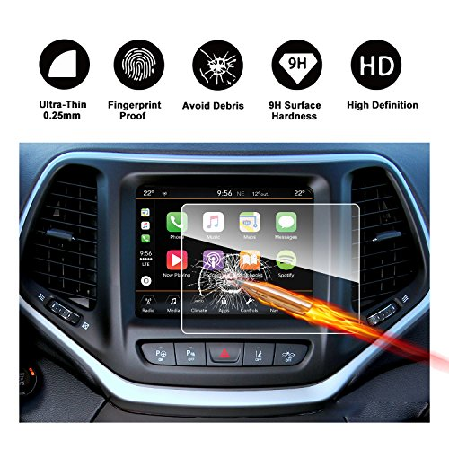 2014-2018 Jeep Cherokee Uconnect Touch Screen Car Display Navigation Screen Protector, RUIYA HD Clear TEMPERED GLASS Car In-Dash Screen Protective Film (8.4-Inch) by RUIYA