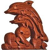 """7.5"""" Wooden 3D Dolphin Animal Brain Teaser Puzzle, Dark Brown"""