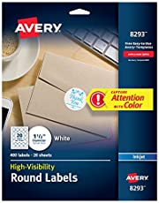 Avery® Matte White High-Visibility Labels for Inkjet Printers, 1-1/2 Inch Diameter, Pack of 400 (8293)