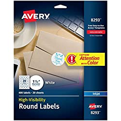 """Avery High-Visibility 1.5"""" Round Labels, Personalize Your Pop Socket Phone Holder, 400 Pack (8293), White"""