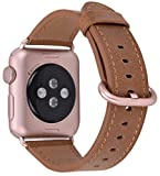 JSGJMY Compatible Iwatch Band 38mm Women Vintage Caramel Genuine Leather Loop Replacement Strap with Rose Gold Metal Clasp Compatible Iwatch Series 3 2 1 Sport Edition