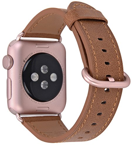 JSGJMY Compatible Iwatch Band 38mm Women Vintage Caramel Genuine Leather Loop Replacement Strap with Rose Gold Metal Clasp Compatible Iwatch Series 3 2 1 Sport Edition by JSGJMY