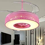 Lighting Groups Modern Tricolor 42 Inch Invisiable Blade LED Children Ceiling Fan Light with Remote Control for Kids Room Red Retractable Ceiling Light with Fans for Children Room Bedroom (42'', Red)