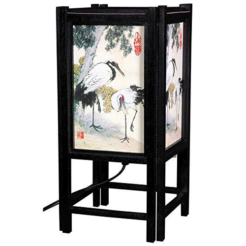 (Oriental Furniture LMPSH14-CR Art Shoji Lamp - Cranes, 14