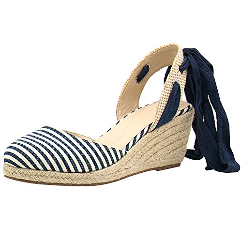 rismart Ladies Women's Wedges Summer Ankle Straps Espadrilles Sandals Shoes SN02715(Stripe Color,8.5) (Ribbon Strap Stripe)