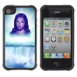 Hybrid Anti-Shock Defend Case for Apple iPhone 4 4S / Jesus Waterfall