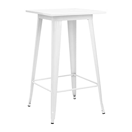 Vaukura Mesa Alta Tolix - Mesa de Bar Industrial (Blanco): Amazon ...