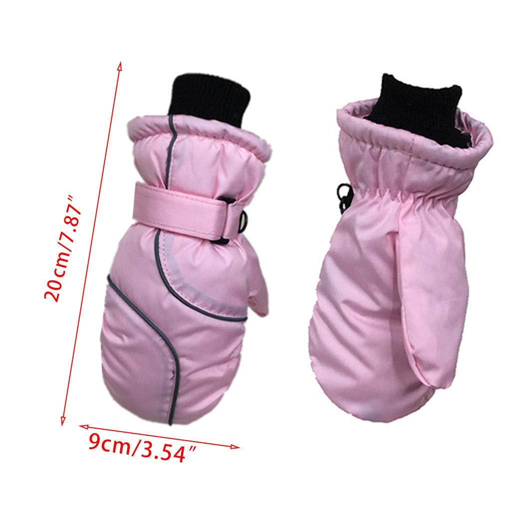 impermeabili per 5-9 anni caldi e regolabili Guanti da sci invernali per bambini motivo patchwork Qintaiourty antivento spessi tinta unita