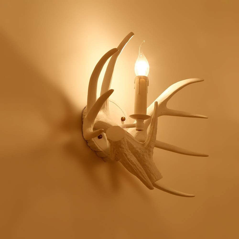Jiuzhuo Solid White Resin Faux Deer Antler Indoor Wall Sconce with 1 Candle Light