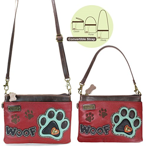Chala Mini Crossbody Handbag, Multi Zipper, Pu Leather, Small Shoulder Purse Adjustable Strap - Teal Paw - Burgundy