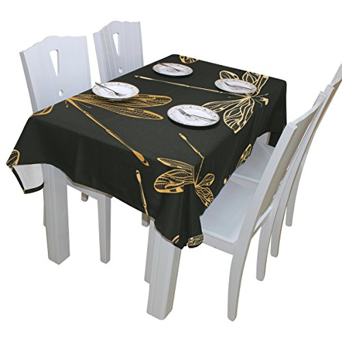 - baihuishop Dragonflies Black Tablecloth Rectangular Polyester Wedding Indoor Outdoor Oblong Dining Room Table Cloth Rectangle Party Tablecloths for Dinner Parties Table Cover 60x90 Inch