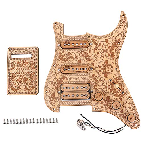 (SUPVOX 1 Set SSH08 SSH Rosewood Loaded Prewired Humbucker Pickguard Pickups Set for Fender Electric Guitar (Light Brown))