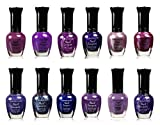 Kleancolor Assorted Nail Colors Set Perfect Gift For Loved One Pastel, Metallic, Blue, Pink, Neon, And Purple (12 PIECES, PURPLE)