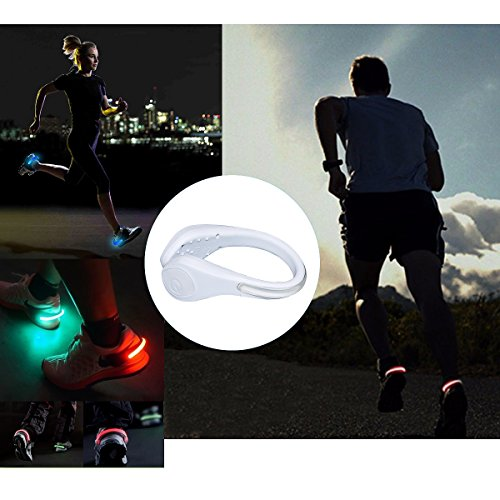 TEQIN White Shell Colorful LED Flash Shoe Safety Clip Lights for Runners & Night Running Gear - Reflective Running Gear for Running, Jogging, Walking, Spinning or Biking + Velvet Bag - (Set of 2) by TEQIN (Image #6)