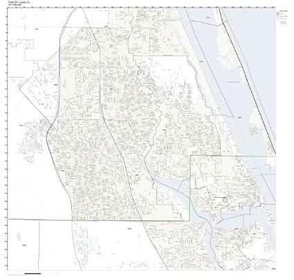 Map Of Port St Lucie Florida.Amazon Com Zip Code Wall Map Of Port St Lucie Fl Zip Code Map