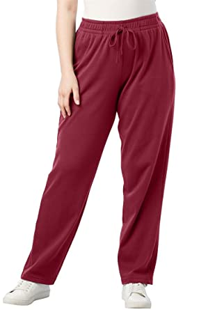 c90fc28311395 Roamans Women s Plus Size Petite Straight Leg Soft Knit Pant - Dark Cherry