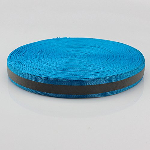 Peacock Blue Silver Reflective Fabric Strip Trim Sew On For Clothing 20mm x 45m by JINBING