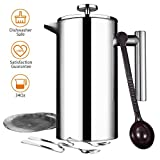 Homitt French Coffee Press,34oz Double Wall Stainless Steel, Screens Filters, No Grounds Coffee