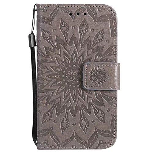 SRY-case La flor del sol entero con una ranura para tarjeta, acollador, hebilla magnética, plano abierto el teléfono Shell para LG K3 2017 ( Color : Pink ) Gray