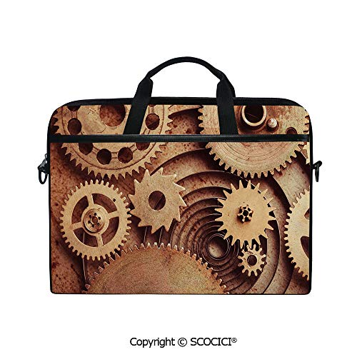 Laptop Sleeve Notebook Bag Case Messenger Shoulder Laptop Bag Inside The Clocks Theme Gears Mechanical Copper Device Steampunk Style Print with Handle and Extra Side Pockets
