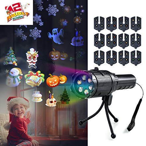 Handheld Projector Lights for Holiday Decoration,LED Projection Flashlight with 12 Slides,Auto Rotating Decoration Light for Christmas,Halloween,Easter,Home Party,Birthday,Kids Gift