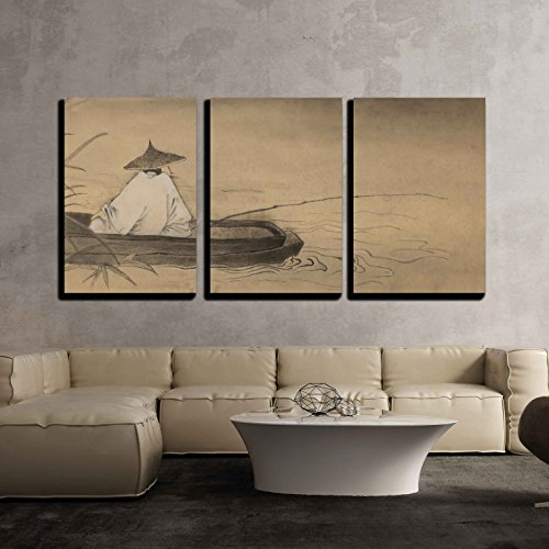 wall26 - 3 Piece Canvas Wall Art - Chinese Fishermen in the Boat and Reeds - Modern Home Decor Stretched and Framed Ready to Hang - 24