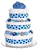 QBabyShowering 3 Tier Cute Decorated Baby Boy Blue Diaper Cake For...