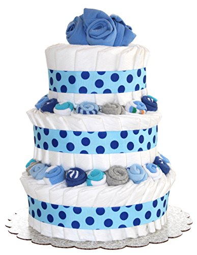QBabyShowering 3 Tier Cute Decorated Baby Boy Blue Diaper Cake For Babyshower (Blue) ()
