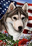 Siberian Husky Dog Breed Patriotic House Flag 28 x 40 Inches Grey Review