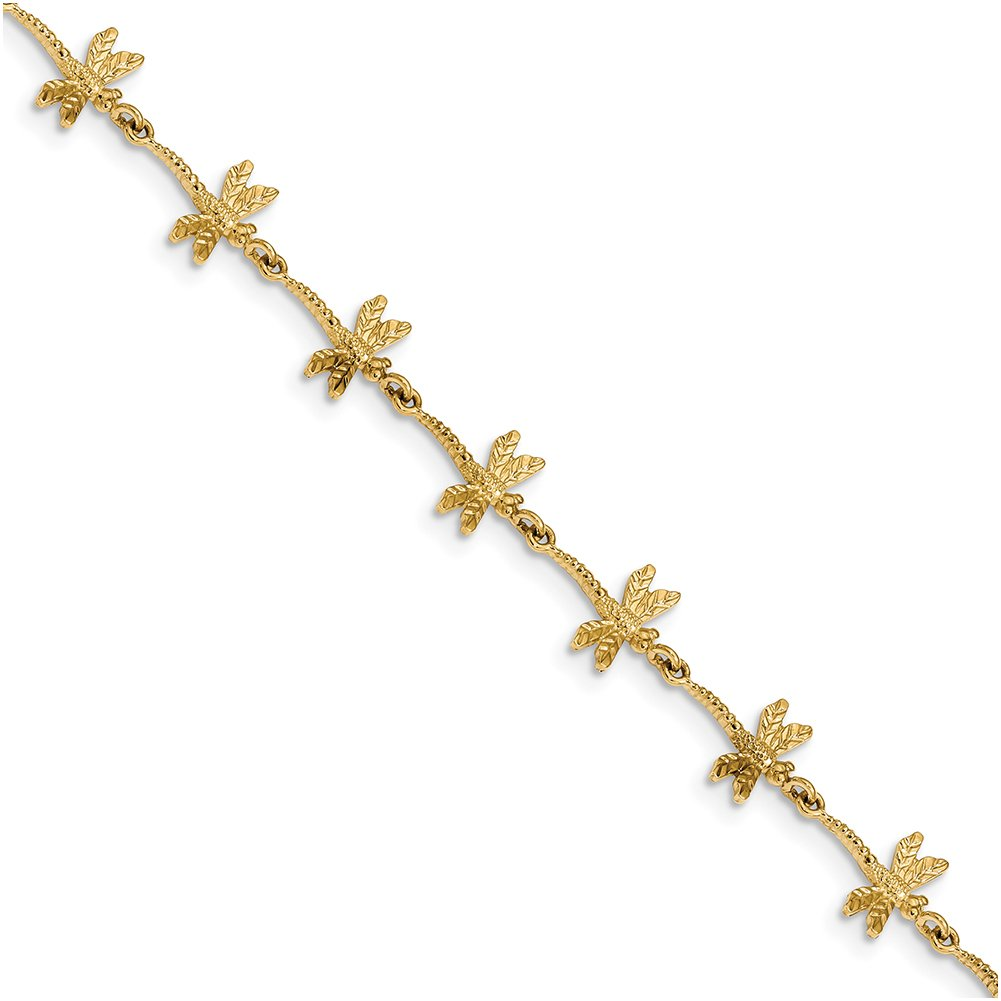 14k Yellow Gold Polished and Textured Dragonfly 7.5 inch Bracelet FB1490-7.5''